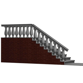Balustrade with single baluster pillars